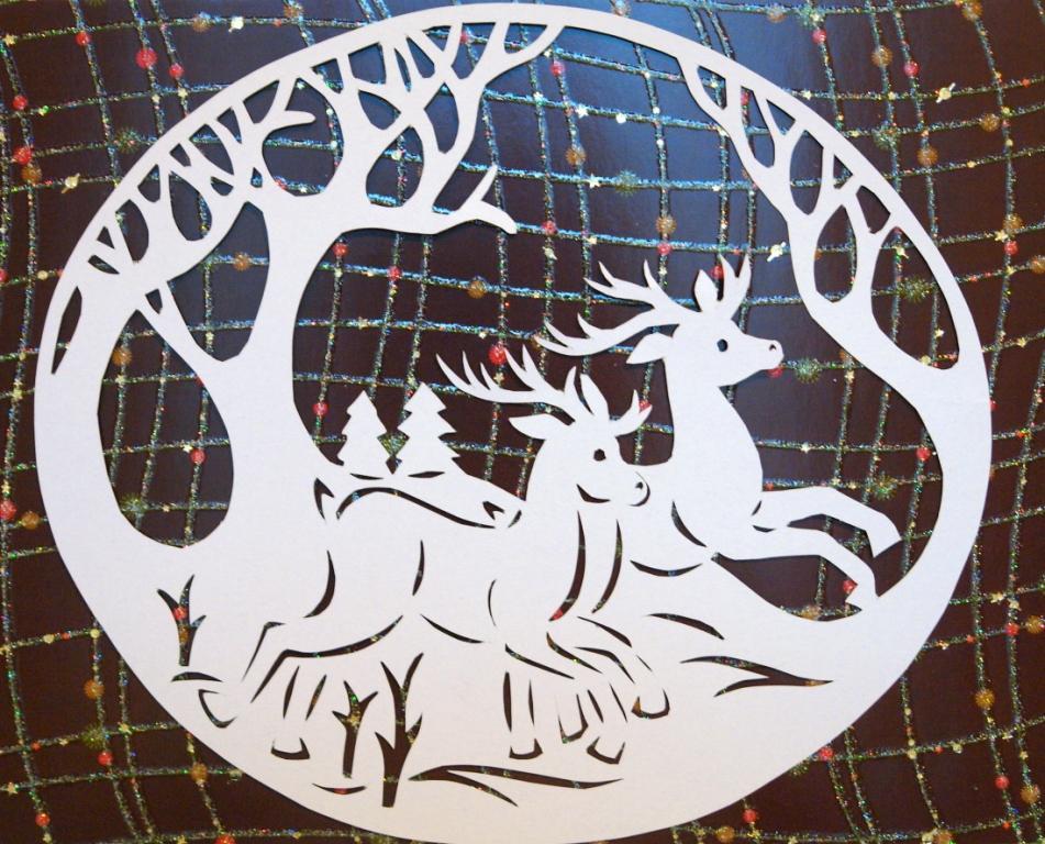 Украшение на окна на новый год киригами скачать бесплатно